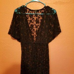 Long black lace button down dress